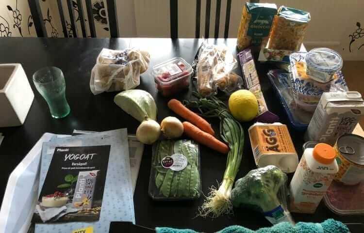 recept och råvaror från en matkasse